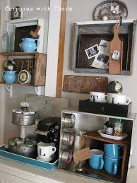old crates and drawers junk styled coffee station by chipping with charm featured on http unique diy coffee station