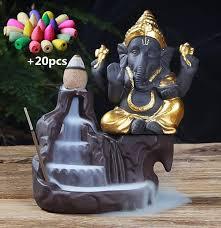 NOOLIM <b>Ganesha Backflow Incense Burner</b> Elephant god Emblem ...