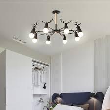 Black Chandeliers LED Iron Antler Chandelier Lighting Modern ...