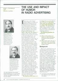 the use and impact of humor in radio advertising pdf the use and impact of humor in radio advertising pdf available