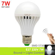 1pc 7w e27 soundlight control smd5730 led bulb motion sensor lamp voice activated automatic smart detection for door gate stair automatic led stair lighting