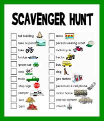 scavenger hunt list