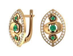 <b>Золотые серьги с зелеными</b> и бесцветными фианитами ...