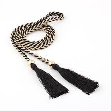 <b>Winfox</b> Fashion Thin Braided Tassels Belt For Women Tie Bead ...