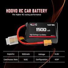 HOOVO 4S <b>14.8V</b> 1500mAh <b>100C</b> RC LiPo Battery with XT60 ...