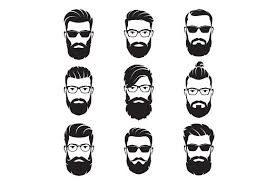 Vector bearded men faces. Part 2 | Beard silhouette, Male <b>face</b>, Hair ...