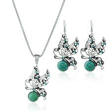<b>Bohemian Diamond</b> Hollow Butterfly Jewelry Set Turquoise Clavicle ...