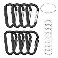 EFIXTK <b>8 Pack 8CM</b> Carabiner Clips with Keyrings and Wire ...