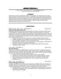 sample restaurant manager resume   resumeseed comgallery of  sample restaurant manager resume