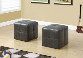 MBTC Monarch Ottoman <b>Pouffe</b> Cubic <b>Stool</b> in Charcoal <b>Black</b> (Set ...