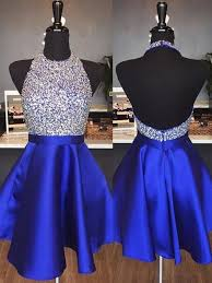 Halter Neck Backless Homecoming Dress with Beadeing <b>Custom</b> ...