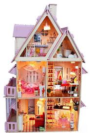 doll house include dust cover large cafe miniature wooden dollhouse furniture model toy christmas gift castle cheap doll houses with furniture