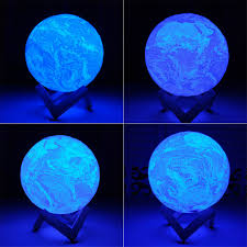 3D <b>Printing Night</b> Light Earth LED Lamp Rechargeable Lighting For ...