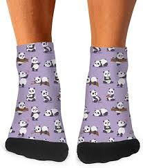 Purple Bamboo Panda Bear <b>Low Cut</b> Socks for <b>Mens</b> Blend <b>Four</b> ...