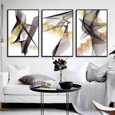 Nordic Posters <b>Prints</b> Golden Abstract Lines Geometric Home ...