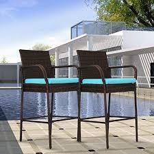Outdoor <b>2 Pcs</b> Outdoor <b>Bar</b> Height <b>Chair</b> Set Patio Wicker Rattan ...