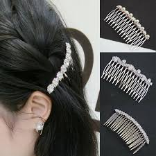 <b>Fashion Women</b> Crystal <b>Diamond Bowknot</b> Pearl Hair Comb Bride ...