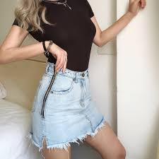 Side zip <b>high waist a word</b> denim skirt · FE CLOTHING · Online Store ...