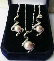 <b>Natural</b> Purple Akoya Cultured Pearl Pendant <b>Necklace</b> + <b>Earrings</b> ...