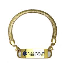 ALLERGIC TO <b>TREE</b> NUTS <b>gold plated</b> chevron Medical ID Bracelet