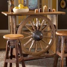 western home bar decor with unique wheel table and rustic chairs reaching fun party with awesome home bar decor small