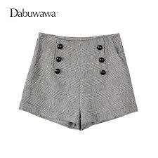 <b>Dabuwawa</b> Grey Short Women Plaid <b>Vintage</b> Wool Shorts For ...