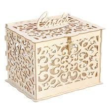<b>DIY Wedding Gift Card</b> Box Wooden Carving Money Box With Lock ...
