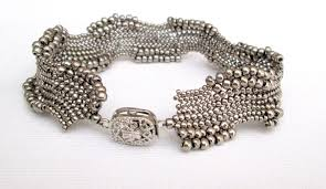 <b>Silver seed bead</b> bracelet OOAK bracelet art jewely boho | Etsy ...