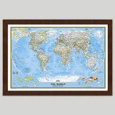 <b>World Wall Maps</b> - Laminated, Framed, Rails, Spring Rollers - <b>Map</b> ...