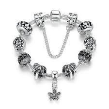 Woman S925 Silver Plated Charm Bracelet Leaf & Rose <b>Beads</b> ...
