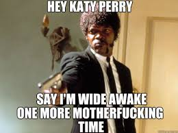 Say I'm wide awake one more motherfucking time time hey Katy Perry ... via Relatably.com