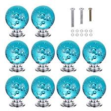HOMEIDEAS <b>10PCS</b> 30MM Aqua Blue <b>Bubbles</b> Crystal Knobs Glass