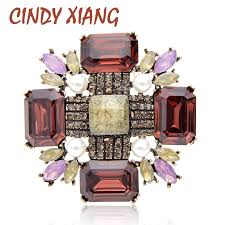 <b>CINDY XIANG</b> Large Crystal Cross Brooches for Women Fashion ...