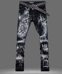 Hot Mens Punk Wolf Printed Denim Casual <b>Classic</b> Straight Jeans ...