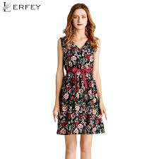 LERFEY Women Dress Sleeveless <b>Mini V Neck</b> Floral Print ...