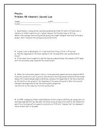 Newton S Second Law Worksheet Middle School   Intrepidpath