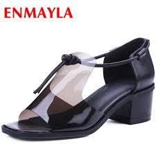 <b>ENMAYLA Fashion</b> Women Peep Toe Black White Shoes Women ...