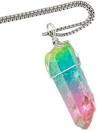 <b>TUMBEELLUWA</b> Natural Rock Quartz Pendant Necklace <b>Titanium</b> ...