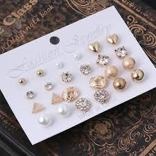 <b>12 Pairs Crystal Punk</b> Geometric Peach Heart Piercing Stud ...