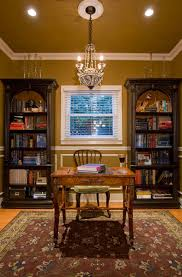 moulding bookcase traditional bookshelve light fixture arrangement idea in traditional home office painted ceiling lighting fixtures home office