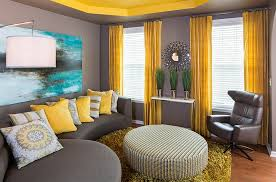 view in gallery a perfect way to combine yellow and gray in a balanced fashion balanced living room