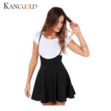 <b>Summer Women Fashion</b> Black Skater Skirt with Shoulder Straps ...