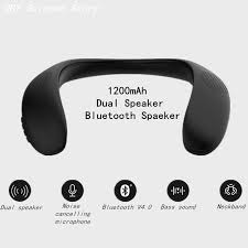 <b>Neckband Speaker Wireless Dual</b> Speaker Bluetooth V4.0 Bass ...