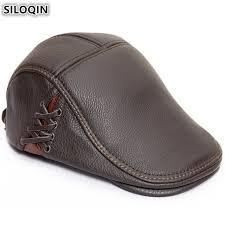 Adult <b>SILOQIN</b> Genuine Leather Hat <b>Mens</b> Cowhide Beret Brand ...