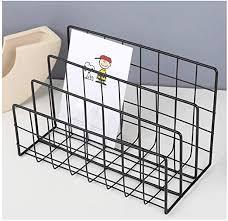 3 <b>Grid File</b> Storage Shelf Book Stand <b>Desktop</b> Nordic Wrought <b>Iron</b> ...