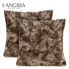 """LANGRIA <b>2 pcs</b> Faux Fur <b>Cushion</b> Covers 18x18"""" Soft Plush <b>Shaggy</b> ..."""