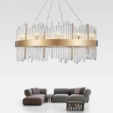 Postmodern <b>Nordic</b> Luxury <b>K9</b> Crystal Pillar <b>Lampshade LED</b> Round ...