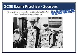 GCSE History Worksheets   Lesson Plans  Powerpoints  amp  Resources Wall St Crash GCSE Exam Practice Inference Question