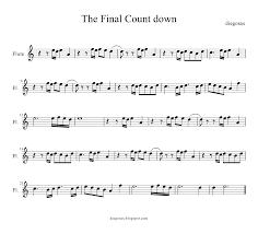 The Final Countdown de Europe Partitura de Flauta, Violín, Saxofón Alto, Trompeta, Viola, Oboe, Clarinete, Saxo Tenor, Soprano Sax, Trombón, Fliscorno, chelo, Fagot, Barítono, Bombardino, Trompa o corno, Tuba...