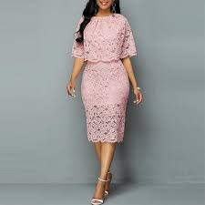 Sexy Hollow Out Pink Lace Dress Women Autumn Casual O-neck ...